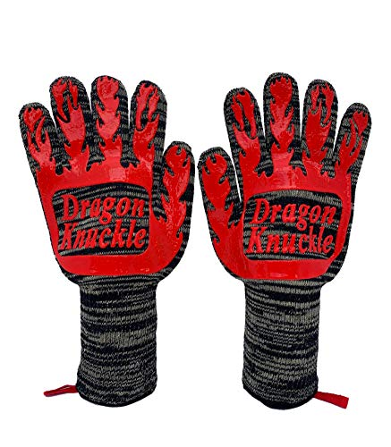 Dragon Knuckle Heat Resistant BBQ Gloves New and Improved to Withstand 1472ºF - Grilling Barbecue Charcoal Grill Tools Kevlar Nomex Cut Resistant - Great Gift