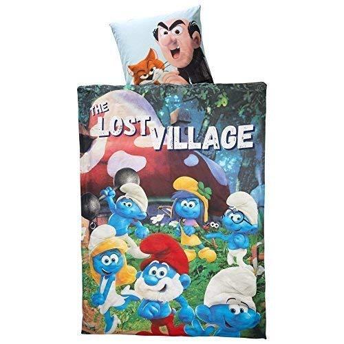 Die Schlümpfe Original The Smurfs The Lost Village Wende - Linon - Bettwäsche 135x200 / 80x80 cm Baumwolle Öko Tex NEU