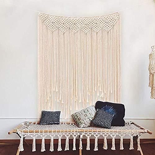 TIAQUN Tapiz grande de macramé bohemio para colgar en la pared, tela de algodón boho hecho a mano, macramé, cortina de ventana, cortinas de puerta, telón de fondo de boda, decoración de pared, color beige