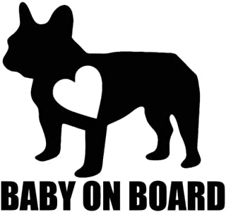 YTYTOO Baby On Board Car Vinyl Decal Sticker Bulldog Funny Cute Animal,Motorcycle Laptop Window Decor Cars Styling Beauty 12.7X11.7Cm-Black 2Pcs