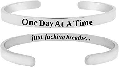 SheridanStar 'One Day at A Time Just F'ing Breathe'' Inspirational Quote Motivational Mantra Cuff Bracelet