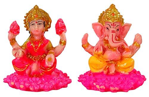 IBA Indianbeautifulart Hindú Dios Ídolo Señor Lakshmi Y Ganesha Estatua De Resina Esculpida En Gran Detalle 6 Cm...
