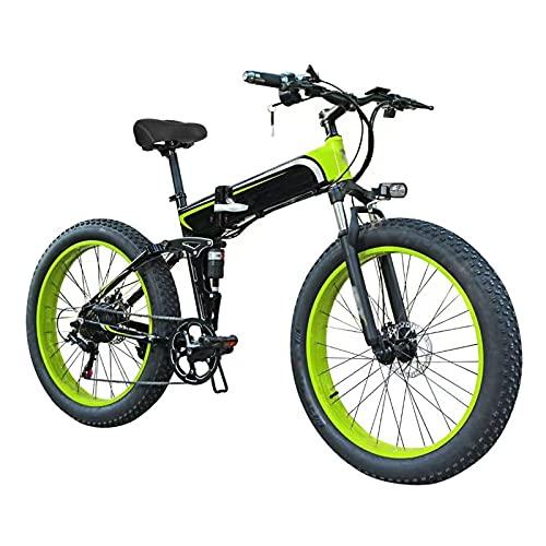 Bicicleta Eléctrica, 26 ' E-bike de montaña plegable para adultos, Ebike Fat Tire de 7 velocidades, Motor de 48V 10Ah 350W, Frenos de disco delanteros y traseros, 3 modos de trabajo,Black green