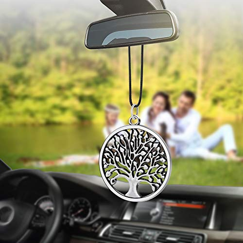 BVCX Coche Pendiente Redondo Feliz Árbol Estilo Espejo retrovisor automático Decoración Colgante de Automóviles Accesorios Decoración Interior Regalo (Color : 01)