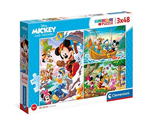 Clementoni Mickey Mouse Supercolor Disney and Friends-3x48 (3 48 pezzi) -Made in Italy, puzzle bambini 4 anni+, Multicolore, 25266