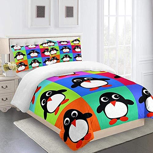 YCLJFQY Single Bedding Duvet Cover Set Animal little penguin Duvet Cover 3PCS, Super Soft Cozy Microfiber Quilt Cover Set 140x200cm with 2 Pillowcases 50x75cm, Zipper Closure