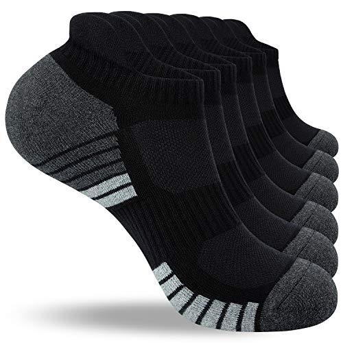 Benirap Herren Socken, 6 Paar Laufsocken Anti-Blister Gepolsterte Baumwollsocken Atmungsaktiv Sportliche Socken Knöchel tief geschnittene Socken,Schwarz05,M(39-42)