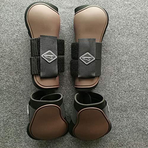 Mahutui Professionele selectie van Paardenleggings Paardensport laarzen met meerdere aanpassing gespen om verwondingen te voorkomen (één set bevat voor en achter been beschermers), bruin, M