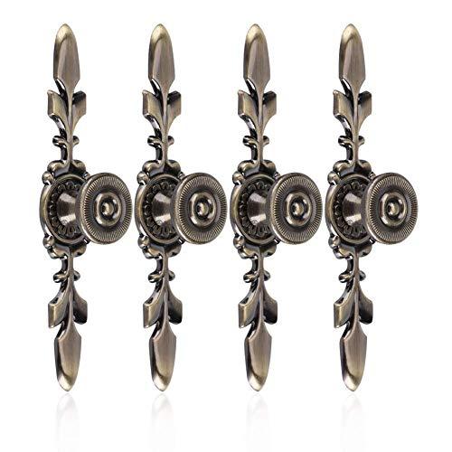 Fdit Türknauf im Vintage-Stil, mit Schraube, 4 Stück - Griff für Möbel, Schubladen, Schränke, Kommoden, Kleiderschrank Green Bronze