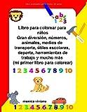 Libro para colorear para niños Gran diversión, números, animales, medios de transporte, útiles escolares, deporte, herramientas de trabajo y mucho más (mi primer libro para colorear)