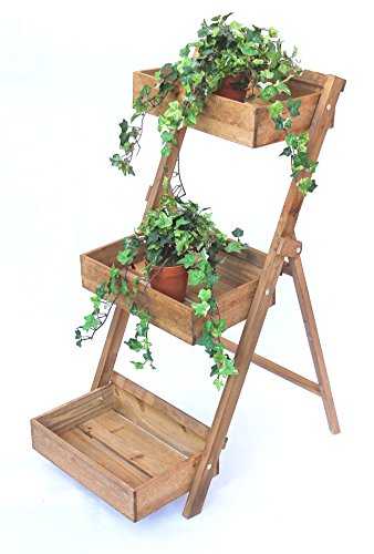 DanDiBo Blumentreppe Holz Braun 90 cm Fiora Leiterregal 3 Stufig Blumenständer Pflanzentreppe Blumenregal Pflanzentreppe
