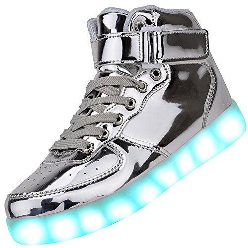 Odema Women High Top USB Charging LED Shoes Flashing Sneakers, Silver, 10 B(M) US