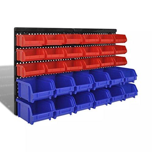 Tidyard 30 teiliges Wandregal Lagerregal Steckregal Blau Rot Werkstatt Heimwerkerbedarf Bauzubehör Werkzeugaufbewahrung & Ordnungssysteme Werkzeugschränke