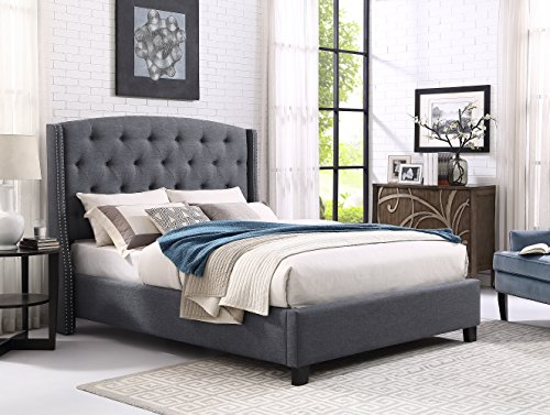 Roundhill Furniture Nantarre Fabric Tufted Wingback Upholstered Bed with Nailhead Trim, King, Gray