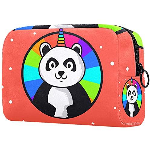 Panda Pandacorn Unicorn Bolsa de maquillaje para bolso de viaje neceser organizador de cosméticos portátil versátil con cremallera para mujeres y niñas