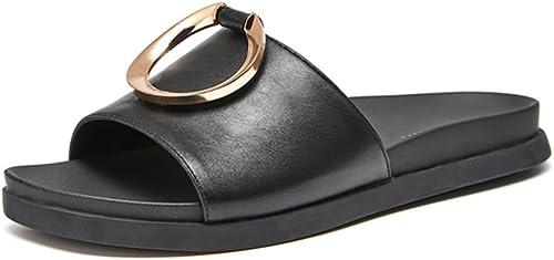JIANXIN des Sandales Femelle Pantoufles Plates Anneau en Metal été Décontracté Et Confortable Sandales D'une Seule Pièce 35-39 Verges (Couleur   noir, Taille   EU 39 US 8 UK 6)