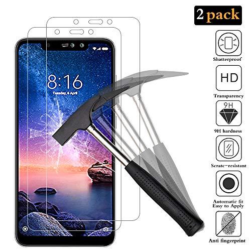 ANEWSIR [2 Pack Protector de Pantalla para Xiaomi Redmi Note 6 Pro, Cristal Templado Xiaomi Redmi Note 6 Pro Vidrio Templado 9H Dureza Garantía de por Vida.