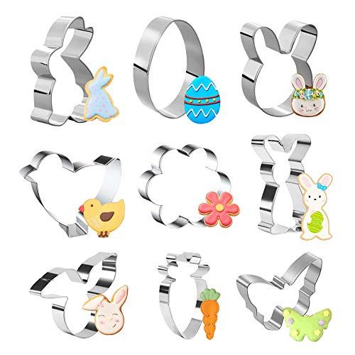ATUIO - Plätzchen Ausstecher Ostern, [9 Stück], Ausstecher Ostern mit Ei, Hase, Karotte, Küken, Schmetterling, Blumen, für Frühling und Ostern, Ausstechformen Ostern Set Osterplätzchen für Backen