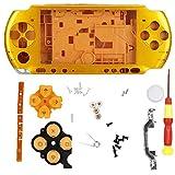 Denash Estuche para Consola de Juegos para PSP 3000, Carcasa Completa con Destornillador, diseño Simple, Compacto, liviano, fácil de Transportar, 5 Colores(Amarillo)