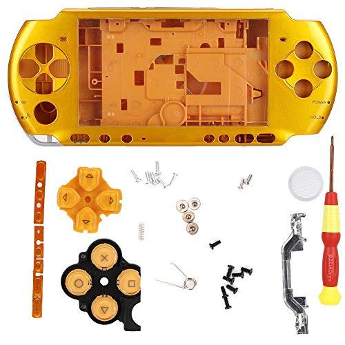 Spielekonsolenetui für PSP 3000, Gehäuse komplett mit Schraubendreher, einfaches Design, kompakt, leicht, leicht zu tragen, 5 Farben(Gelb)