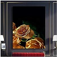 アートパネル PIPAO ゴールデンローズHDプリント写真家の装飾絵画美しい葉のギフトキャンバス寝室の壁の芸術のためのモジュラーポスター15.7x23.6in(40x60cm)x1pcs フレームなし
