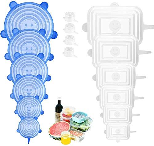 PAMIYO Couvercle Silicone Alimentaire,16pcs Extensible Couvercles Silicone Réutilisable,Ajuster Différentes Tailles Formes des Carré et Rond Contenants pour Alimentaire Bols Four(Blanc,Bleu)
