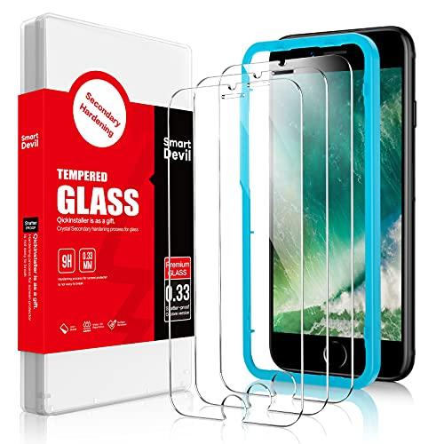 SmartDevil [3-Pezzi] Vetro Temperato Compatibile con iPhone SE 2020/8/7 [Strumento per Una Facile Installazione], Pellicola Vetro Temperato iPhone SE 2020/8/7 [Nessuna Bolla] [Anti-Impronte]