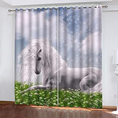 fgjorics Tende Oscuranti 3D Tende Estetiche Unicorno Tende Oscuranti per Ragazzi/Ragazze Tende Stampate per Camera da Letto per Bambini per Soggiorno/Ufficio, 250 (H) X140 (L) Cmx2