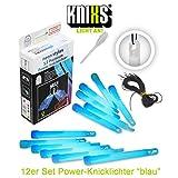 KNIXS 12er Set Premium Power-Knicklichter in blau leuchtend inkl. Spezialhaken