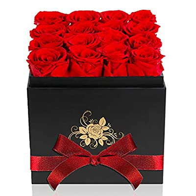 Perfectione Roses Luxury Preserved Roses in a Box, Red Real Roses Romantic Gifts for Her Mom Wife Girlfriend Anniversary Mother's Day Valentine's Day Christmas(Black Large Square Box)