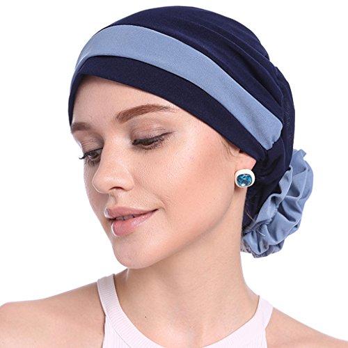 Turbante elástico para mujer Beanie Sombreros de quimioterapia para mujer Elegante bloque de flores elásticas Color musulmán Turbante Chemo Cancer Cap Beanie Headwrap
