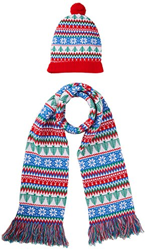 Britse Kerst Jumpers Rood, Groen, Wit Kerst Set Sjaal, Hoed & Handschoen, Veelkleurig), One Size