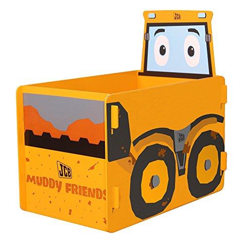 Kidsaw JCB Muddy Friends Spielzeug Box, Holz, gelb, 39x 59x 59cm