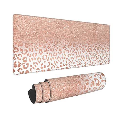 Rose Gold Leopard Print Extended Mouse Pad 31.5x11.8 Inch XL Pink Cheetah Print Non-Slip Rubber Base Large Gaming Mousepad Stitched Edges Waterproof Keyboard Mouse Mat Desk Pad for Office Home