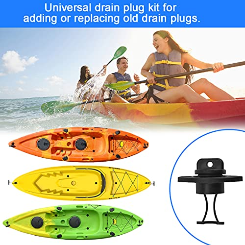 PERFETSELL 4 PCSUniversalHull Drain Stopper Black Plastic Kayak Drain Plug CanoeBoat Drain Holes Plugs BungReplacement Accessories with 8 PCS M5*15mm Screws for Dinghy Kayak Canoes Boat