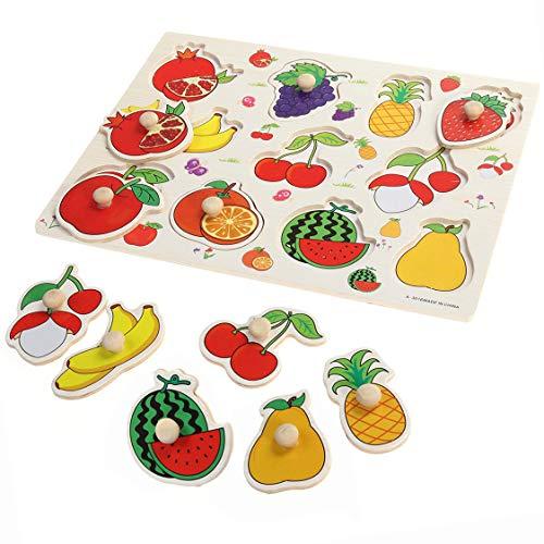 LHKJ Rompecabezas de Frutas de Madera, Puzzles Infantiles de Madera Educativos de Aprendizaje para Niños Bebé