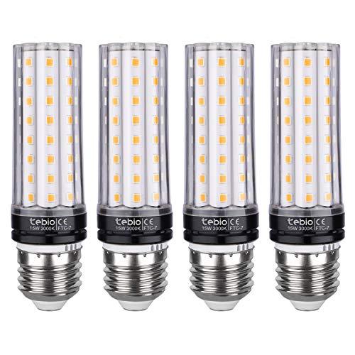 Tebio LED Glühbirnen E27 15W 120W Entspricht Glühbirnen Nicht dimmbar 3000K Warmweiß 1350LM Mittel Edison-Schraube Kerze Leuchtmittel (4 Stück)