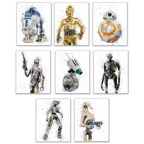 Star Wars Droids Prints - Set of 8 (8 inches x 10 inches) Watercolor Wall Decor Photos - R2D2 C3PO...