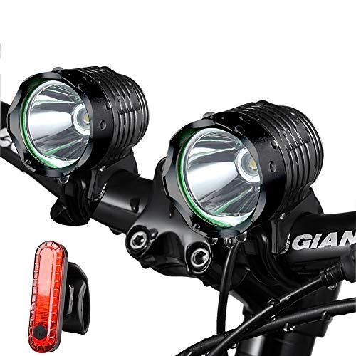 Night Eyes 1200 Lumens Mountain Bike Headlight Bike LED Light Rechargeable 84V 8800mA ABS Waterproof BatteyFree Aluminum BikeTaillight Bonus NO Tool Required 2PACK Black