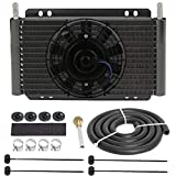 American Volt Heavy Duty 11' Transmission Oil Fluid Cooler 6' Inch Electric Fan Kit Performance Remote RV Trailer Truck Towing