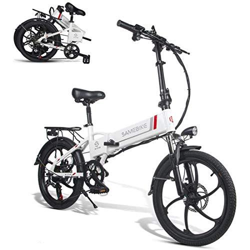 XCBY Bicicleta EléCtrica ,Smart Ebike - De 48 V Y 20 Pulgadas, con Motor 350 W White