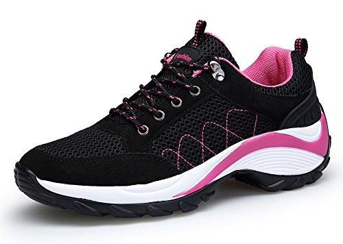 DAFENP Damen Sportschuhe Laufschuhe Sneaker Atmungsaktiv Leichte Wanderschuhe Bequem Schnürer Straßenlaufschuhe Fitness Turnschuhe (40 EU, Schwarz)