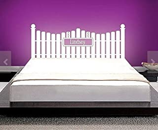 Headboard Vinyl Wall Decal full twin queen Size Wall Decals white Picket Fence Custom Name Sticker Home Wall Stcker Bedroom Romovable