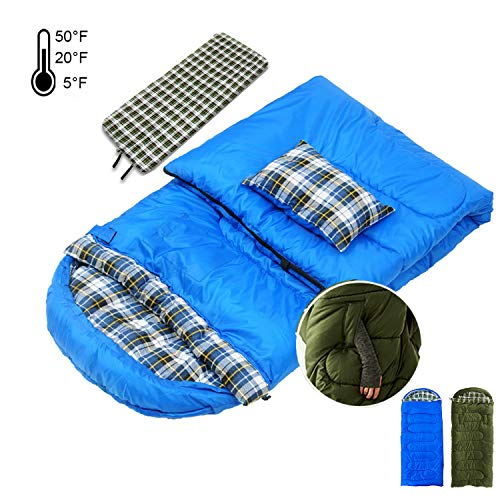 Cold Weather Sleeping Bags with Pillow,10-50 Degree 90x35 Removable Liner Wearable Splicable Portable Washable Dryable Waterproof Sack for Adult