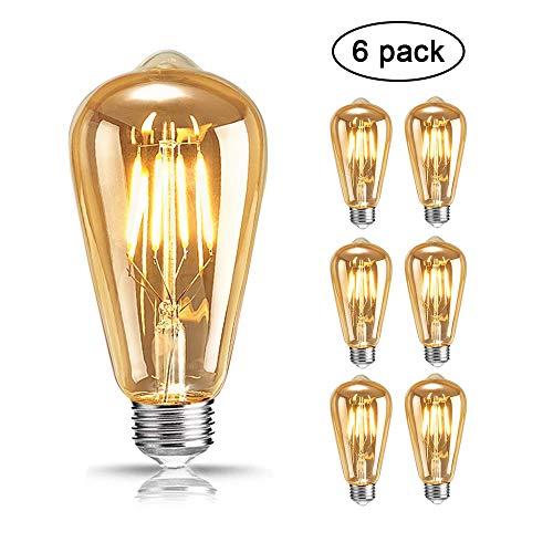 Edison Ampoule, Mixigoo Edison Lampe LED Vintage Ampoule Décorative E27 4W ST64 Antique Filament Rétro Lumière Blanc Chaud Pour Lampe Murale Lampe Suspendue Suspension - 6 Pack