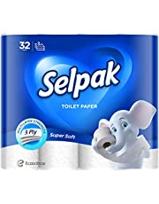 Selpak Super Soft Toilet Paper, 140 Sheets x 3Ply, Pack of 32 Rolls