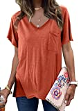 FIYOTE Damen Oberteile V-Ausschnitt Bluse Sommer T-Shirts Casual Tops Hemd Lose Sommershirts 48-50 Orange