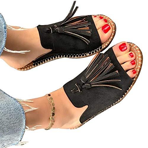 Summer sandals Sandales Ladies Flat Été Rome Gladiator Bout Ouvert Confortables Chaussures Bohémiennes Breathable Anti-Slip Casual Vintage Shoes,Noir,38