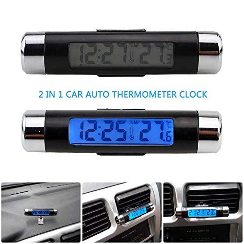 Digitale Weltzeituhr, Riloer 2 in 1 Mini-Innen- und Außenauto LCD Digitaluhr-Thermometer Blaue Hintergrundbeleuchtung Automatische Dekoration