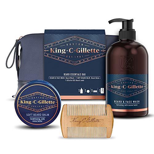 Gillette King C. Kit per la cura della barba da uomo, per barba e viso + balsamo per barba + pettine, idea regalo per lui/papà